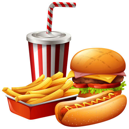 Meal of fast food illustration