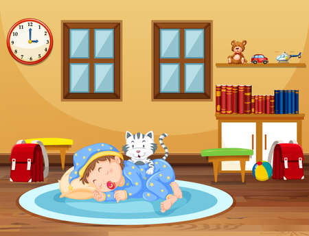 A Baby Sleeping Time at Home illustration