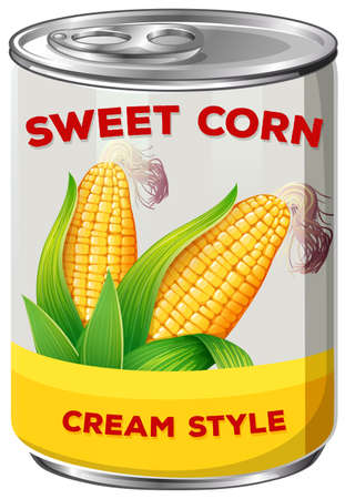 Una ilustración de lata de maíz dulce Ilustración de vector