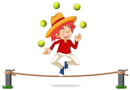 A Man Juggling on Rope illustration