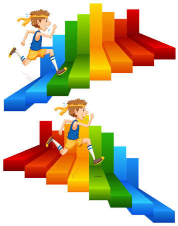 A Man Running on Colourful Stair illustration