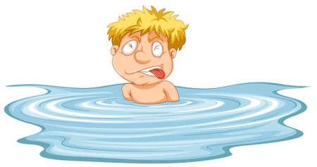 Ein Mann braucht Hilfe in der Wasserillustration Vektorgrafik