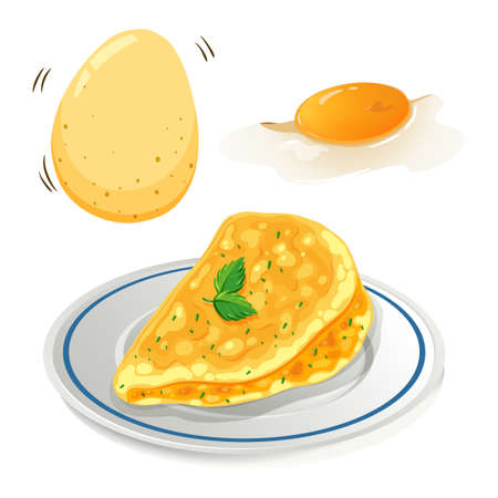 An Omelet on White Background illustration
