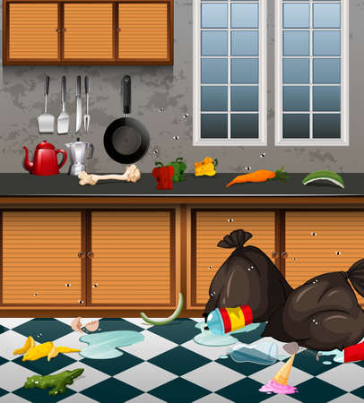 A Dirty Kitchen Full or Waste illustration 写真素材 - 103863653