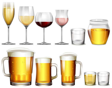 Different Type of Alcoholic Drinks  illustration Vectores