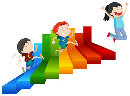 A Happy Girl Reach on Top of Steps illustration Illustration