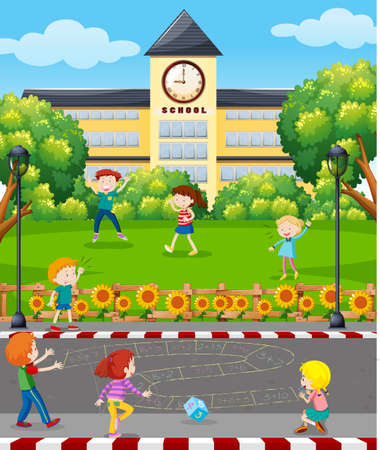 Students Playing in front of School illustration