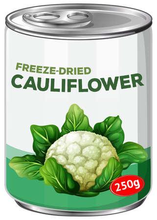 Una lata de coliflor Freese-Dries ilustración
