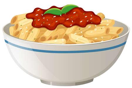 Penne Tomato Sauce on White Background illustration