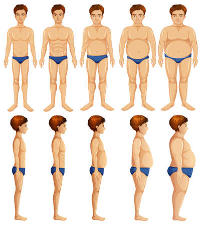 A Set of Man Body Transformation  illustration