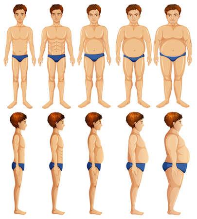 A Set of Man Body Transformation  illustration
