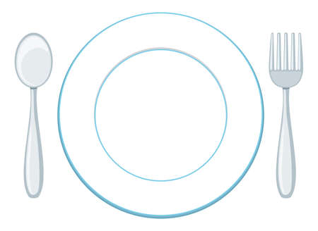 A blank plate with spoon and fork illustration