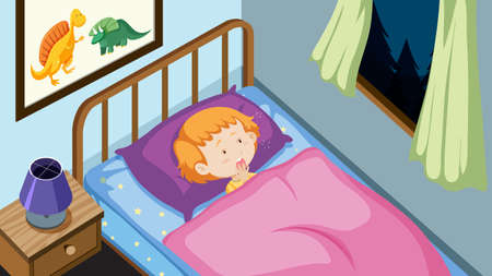 Young boy in his bed illustration  イラスト・ベクター素材