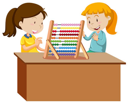 Two young girls playing with an abacus illustration 向量圖像
