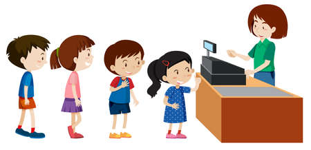 Children buying from a cashier illustration