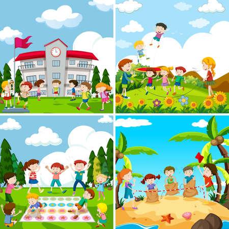 Conjunto de scence de niños jugando ilustración