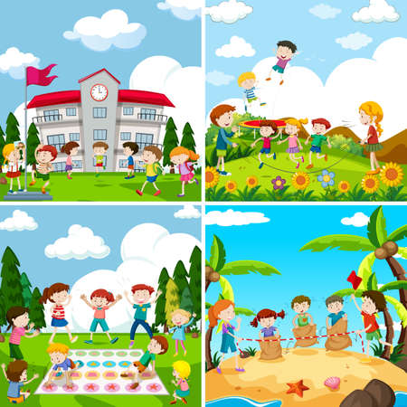 Set of scence of children playing illustration Illustration
