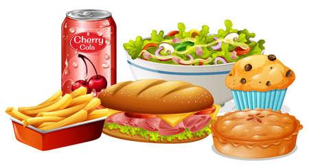 A Set of Food on White Background illustration Standard-Bild - 115065579
