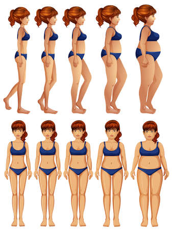 Front and Side of Woman Body Transformation illustration Stock Illustratie