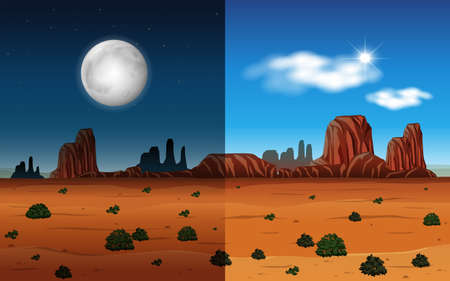 Day and night in a desert illustration 向量圖像
