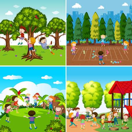 Set of children playing scenes illustration