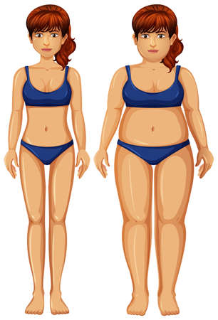 Set of healthy and unhealthy woman figure illustration