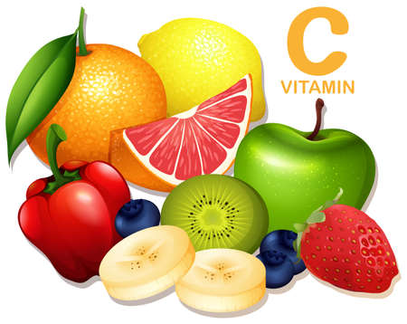 A Set of Vitamin C Fruit illustration