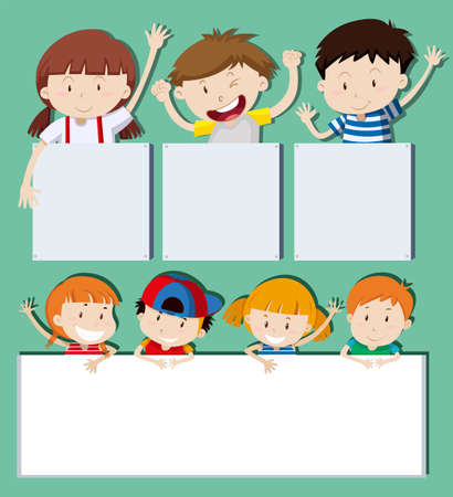 Blank banners with happy children illustration