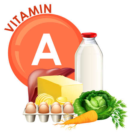 A Set of Vitamin A Food illustration Vectores