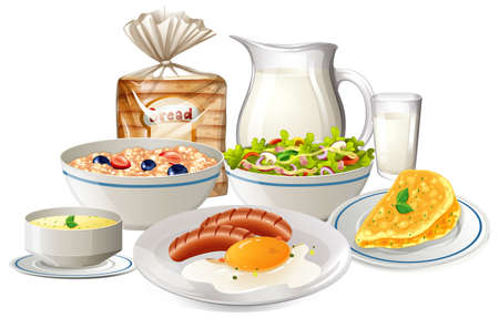 Set of breakfast food illustration