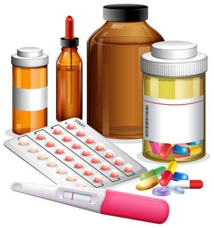 Various medicenes and medications illustration
