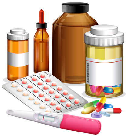 Various medicenes and medications illustration