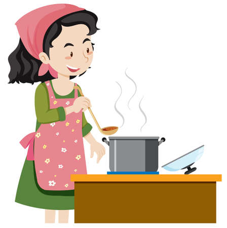 A Mother Cooking Soup illustration