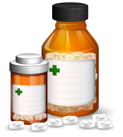 Set of medical containers and medicene illustration Illustration