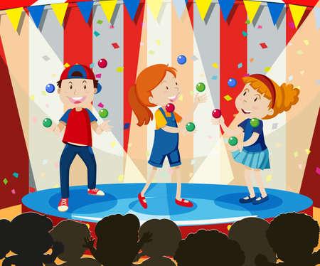 Children Perform Juggling on Stage illustration