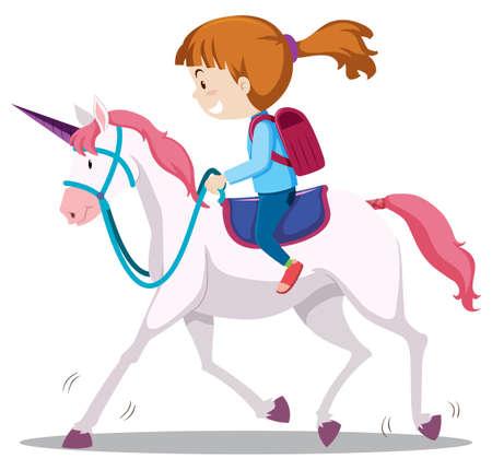 Una ilustración de niña montando a caballo Ilustración de vector
