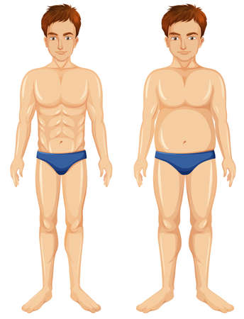 A Set of Man Body Transformation illustration Ilustração