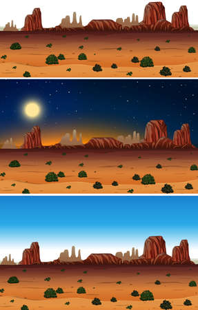 A Set of Desert Scene Day and Night illustration