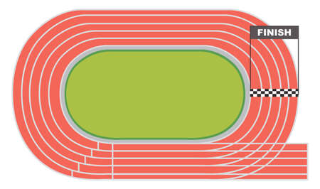 Vista aérea de una ilustración de pista de atletismo