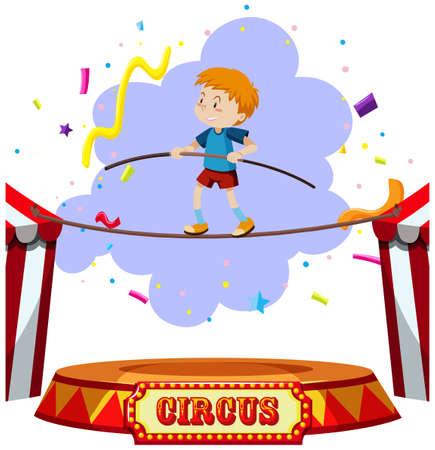 A Boy Tightrope Walking Circus illustration
