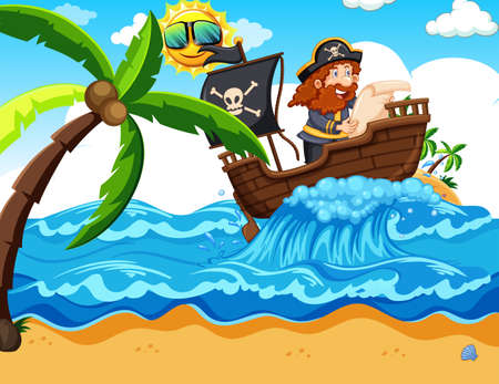 A Pirate Reading a Map illustration Illustration