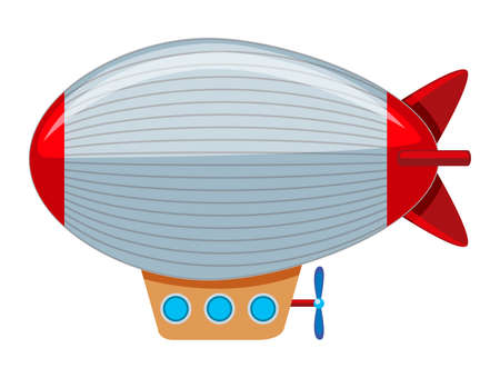 A large grey and red blimp illustration Ilustração Vetorial