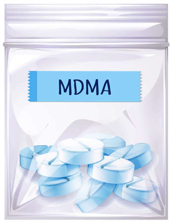 A Package of MDMA Drug illustration