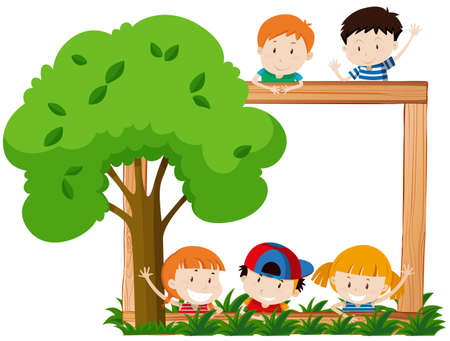 Blank frame surroeded by children and tree illustration 일러스트