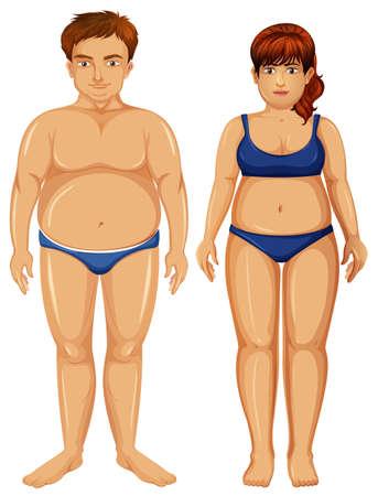 Set of overweight figures illustration