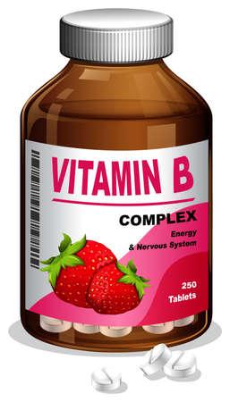Vitamin B Capsule in Container illustration