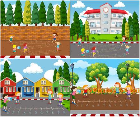 Kinder, die Mathe-Spieleillustration im Freien spielen