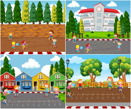 Children Playing Outdoor Math Games illustration