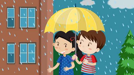 A Couple Walking in the Rain  illustration