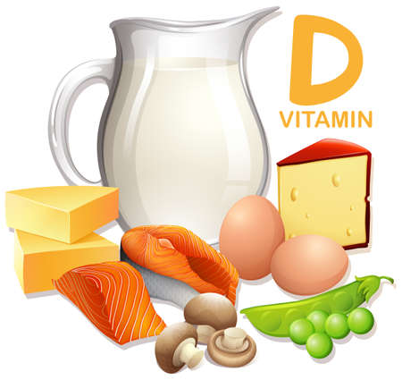 A Set of Food with Vitamin D illustration